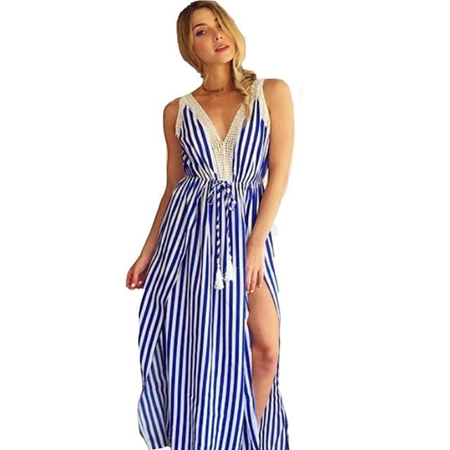 low priced d3120 5bc2b US $21.2 |Vestito Stampato a Righe Sexy Beach Casual Lungo BLU E BIANCO  Allentato Pavimento lunghezza Elegante Equipaggiata Telai Dress in Vestito  ...