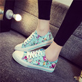 Fashion Spring Autumn Women's Floral Canvas Shoes 2016 Breathable Lace up Women Casual Shoes Girls Skate Footwear N9152