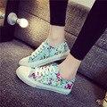 Moda Primavera Outono Sapatas de Lona Florais das Mulheres 2016 Respirável Lace up Women Sapatos Casuais Meninas Sapatos de Skate Calçado N9152