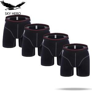 Image 5 - 4 pcs/lot hommes Boxer Homme sous vêtements en coton solide Long Boxershort Mannen pour hommes Sexy Homme Hombre Slip