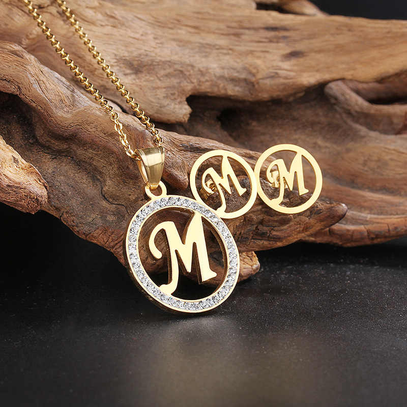 316L Stainless Steel Capital Letter Jewelry Sets Women Rhinestone Gold Initial Letter M Pendant Necklace & Earrings Set