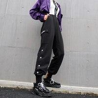 Side slit button cargo pants women Black long trousers Autumn fashion womens sweatpants pockets streetwear pantalon mjuer