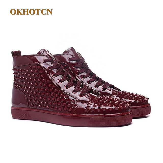 e3d5f9527c59 Zapatillas Hombre Luxury Designer Fashion Black Mens Shoes Brand Boots Red  High Top Spike Studs Rivets Bottom Casual Shoes Man