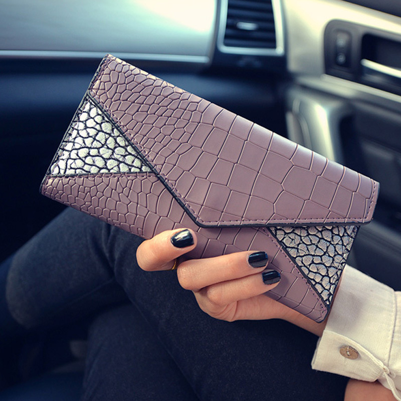 High Quality Women's Brown PU Leather Wallet Female Long Design Alligator Pattern Lady Purse With Hasp&Card Holder  ST0179 lorways 016 stylish check pattern long style pu leather men s wallet blue coffee
