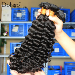 Image 2 - Deep Wave Bundles With Closure Brazilian Virgin Hair Weave 2 and 3 Human Hair Bundles With Closure Dolago Hair Curly Products