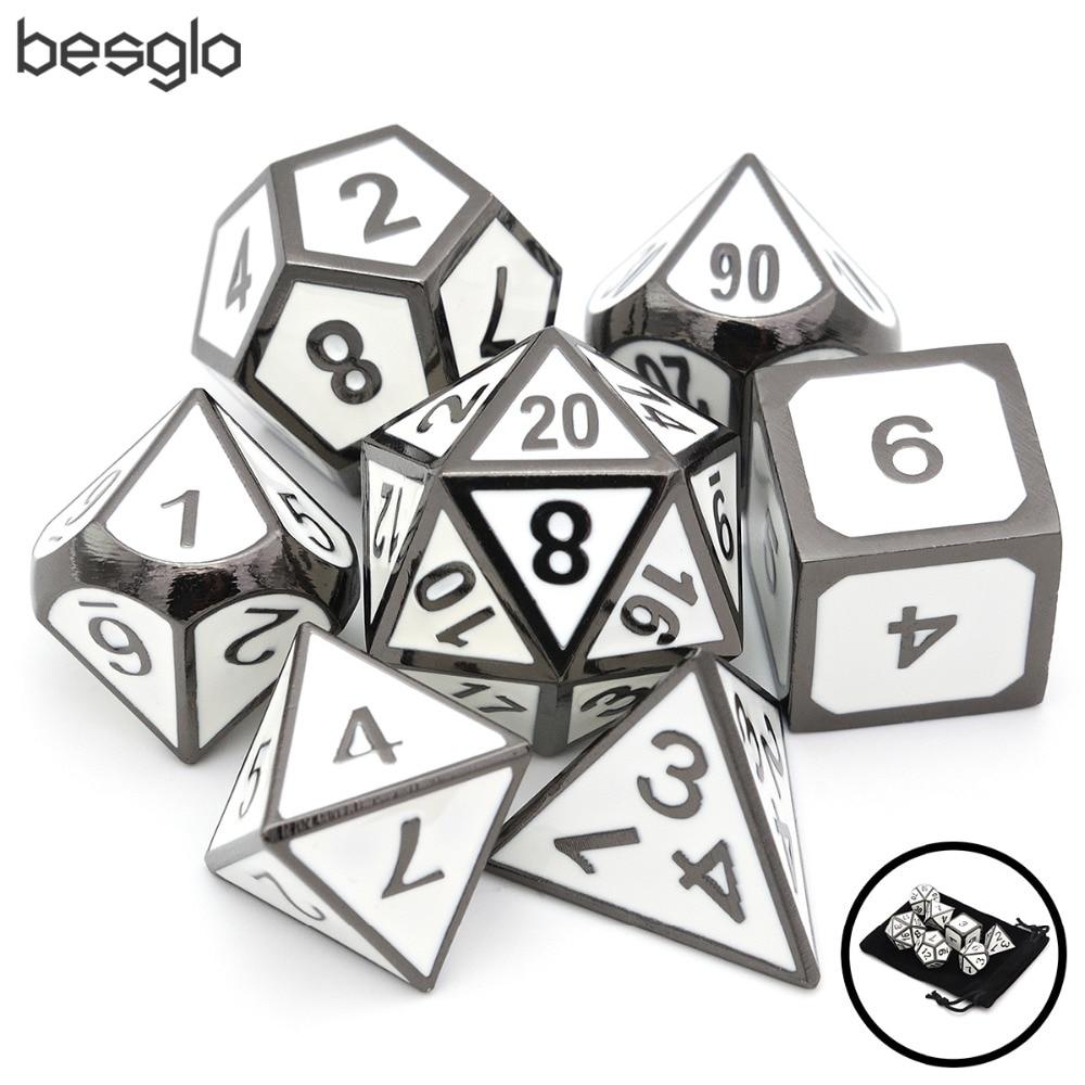 Esmalte branco Polyhedral Dice De Metal com Bolsa De Veludo para o MTG DnD RPG Jogos de Tabuleiro e Ensino de Matemática