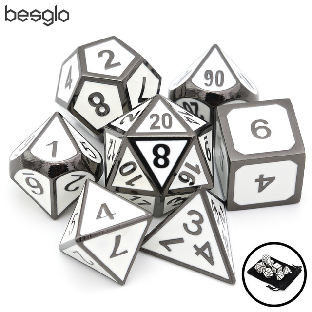 White Enamel Polyhedral Metal Dice With Velvet Pouch For Mtg Rpg Dnd
