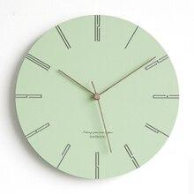 Green Round Wall Clock Silent Creative Pink Wall Clock Modern Design Clocks  Wanduhr Living Room Decoration