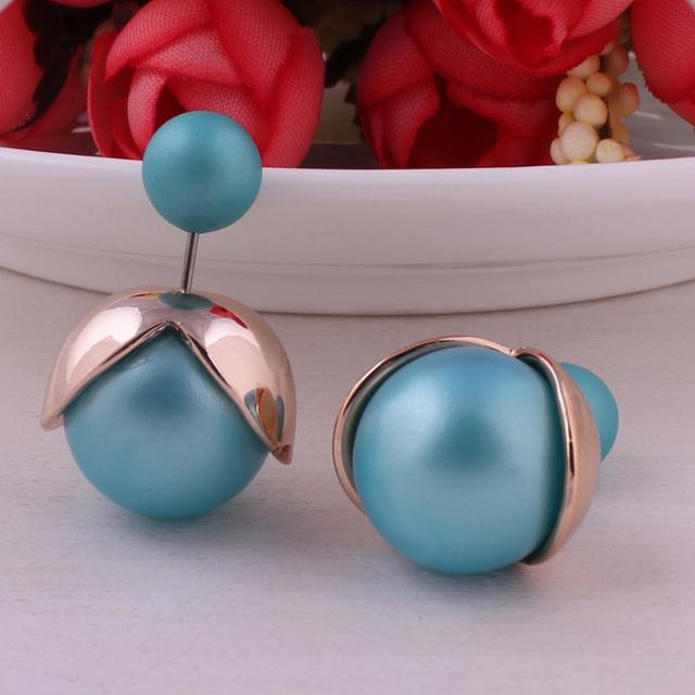 Elegant Double Ball Pearl Earrings For Women