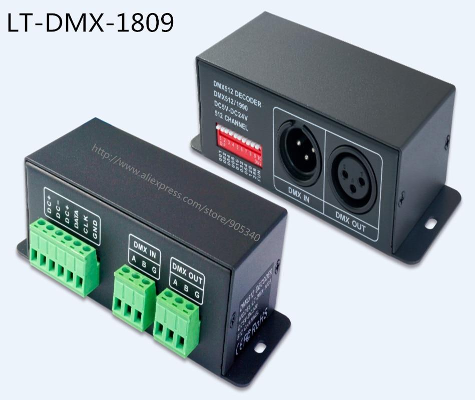 DMX SPI singnal Decoder LT-DMX-1809 support WS2811,TM1804,TM1809,TM1812 driving IC, for led dot light,pixel screen digital tube ltech lt dmx 1809 dmx decoder dmx spi signal convertor support tm1804 tm1809 ws2811 ws2812b for led strip