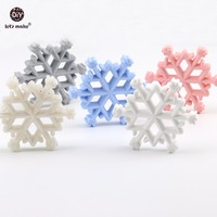 Let's Make Baby Teething Accessories 10pc Food Grade Teether Silicone Christmas Snowflakes DIY Jewelry Nursing Necklace Pendant