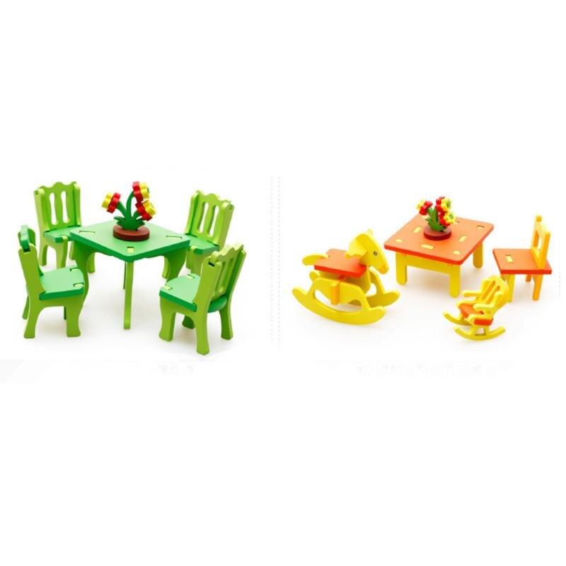 Holz 3d Diy Montage Mobel Puzzle Spielzeug Wohnmobel Tische Stuhle