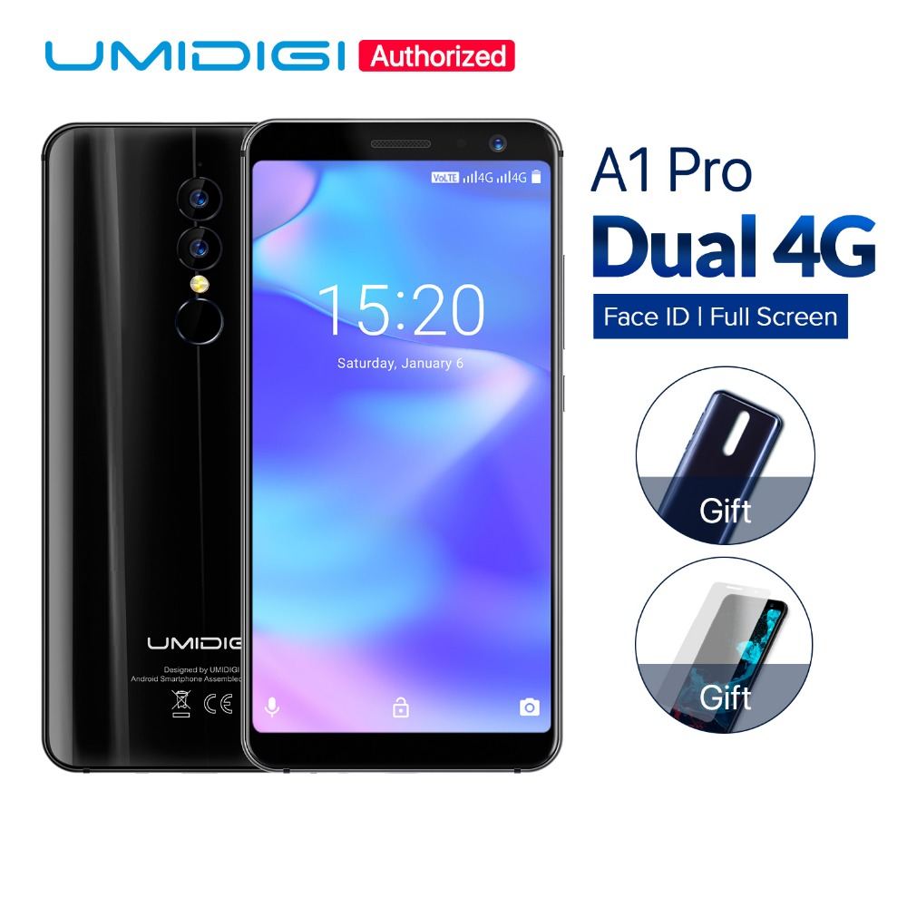 UMIDIGI A1 Pro Global Version Smartphone Android 8.1 Face ID 5.5 inch 3GB 16GB MT6739 Quad Core 3150mAh 13MP 4G mobile phone