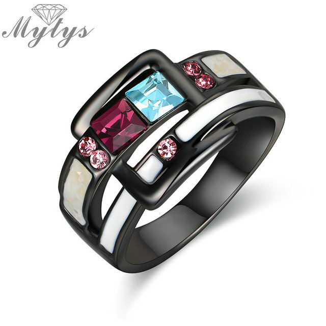 Mytys Blue and Red Crystal Black Gun Color Ring for Women Enamel Belt Design Fas
