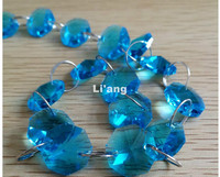 Free Shipping Blue Color 10Meters 14mm Octagon Chain Wedding Party K9 Crystal Strand Garland Beads Decoration Chandelier Lamp