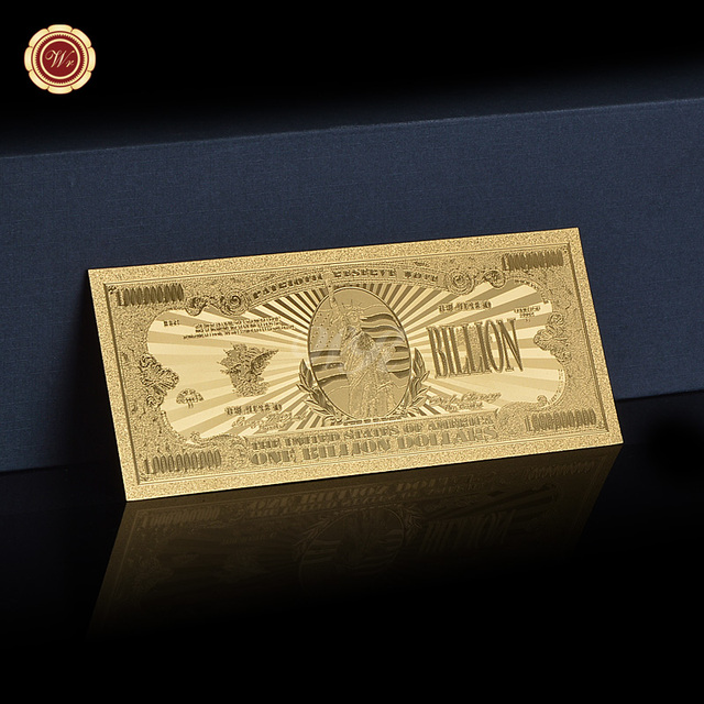 American Gold Banknote One Billion Dollar Gold Foil Banknote Fake Money Value Souvenir Gold Plated For Collection Gifts