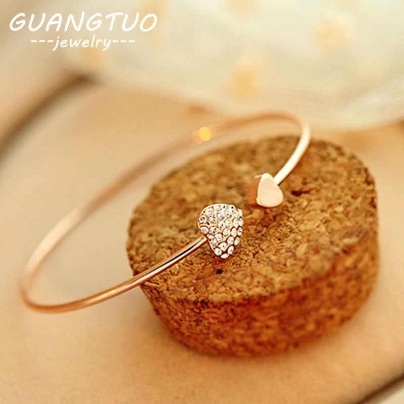 Nueva pulsera Coreana de moda con forma de corazón y cristal de amor doble, pulseras y brazaletes de Color dorado con apertura ajustable LB043