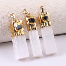1pc Amethysts Natural Stone Pendant Selenite Pendants With Crystal Citrines Charms for Necklaces Jewelry Making