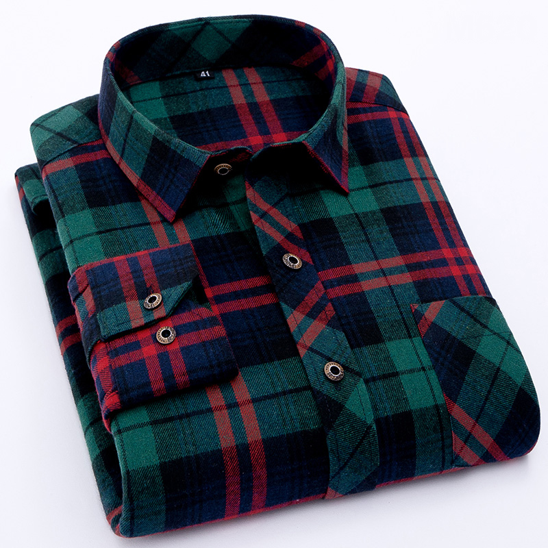 Spring checked design turndown collar shirts Men's Polo Shirts