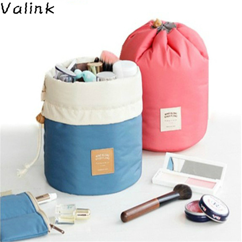 New Fashion Barrel Shaped Travel Cosmetic Bag Makeup Bag Nylon Wash Bags Makeup Organizer Storage Bag High Capacity Necessaire luxcel travel accessory fashion cosmetic case bag large capacity portable women makeup necessaire storage