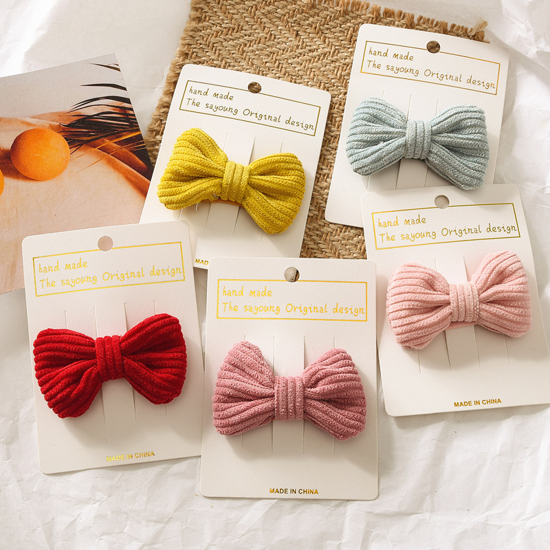 Cute Girl Sweet Corduroy Korean Fabric Bangs Clip, Bow Hair Accessories, Children BB Clip, Side Does Not Hurt Hair, Gifts