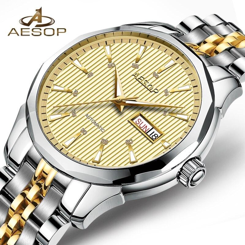 ee809cfa38 AESOP Montre De Luxe Hommes Automatique Mécanique Saphir Cristal Or Montre  Bracelet En Acier Inoxydable Homme Horloge Relogio Masculino Nouveau 46  dans ...