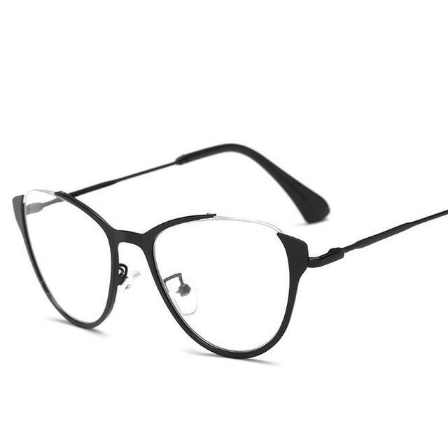 b3da5741d8921 NOVA Tianium Mulheres Olho de Gato Óculos de Armação de Metal Óptica da  Prescrição Miopia Óculos
