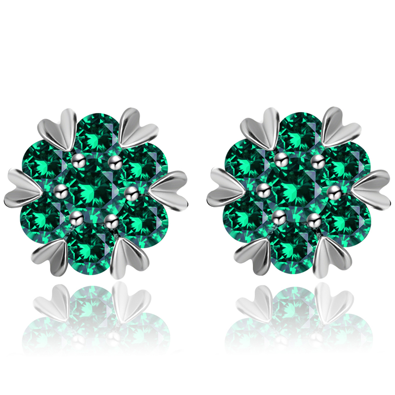 Crystal Zirconia  Fashion Small Heart Flower Woman Earrings