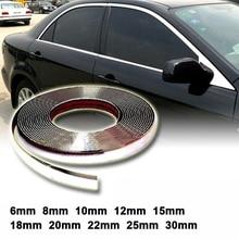 13 M Argent Voiture Chrome Styling Décoration Moulage De Panneau de Jonction de Bande Auto DIY De Protection Autocollant 6mm 8mm 10mm 12mm 15mm 20mm 30mm