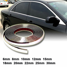 цена на 15M Silver Car Chrome Styling Decoration Moulding Trim Strip Tape Auto DIY Protective Sticker 6mm 8mm 10mm 12mm 15mm 20mm 30mm
