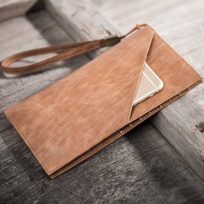 ALAVCHNV retro thin first layer leather men s large capacity long wallet leather soft leather clutch