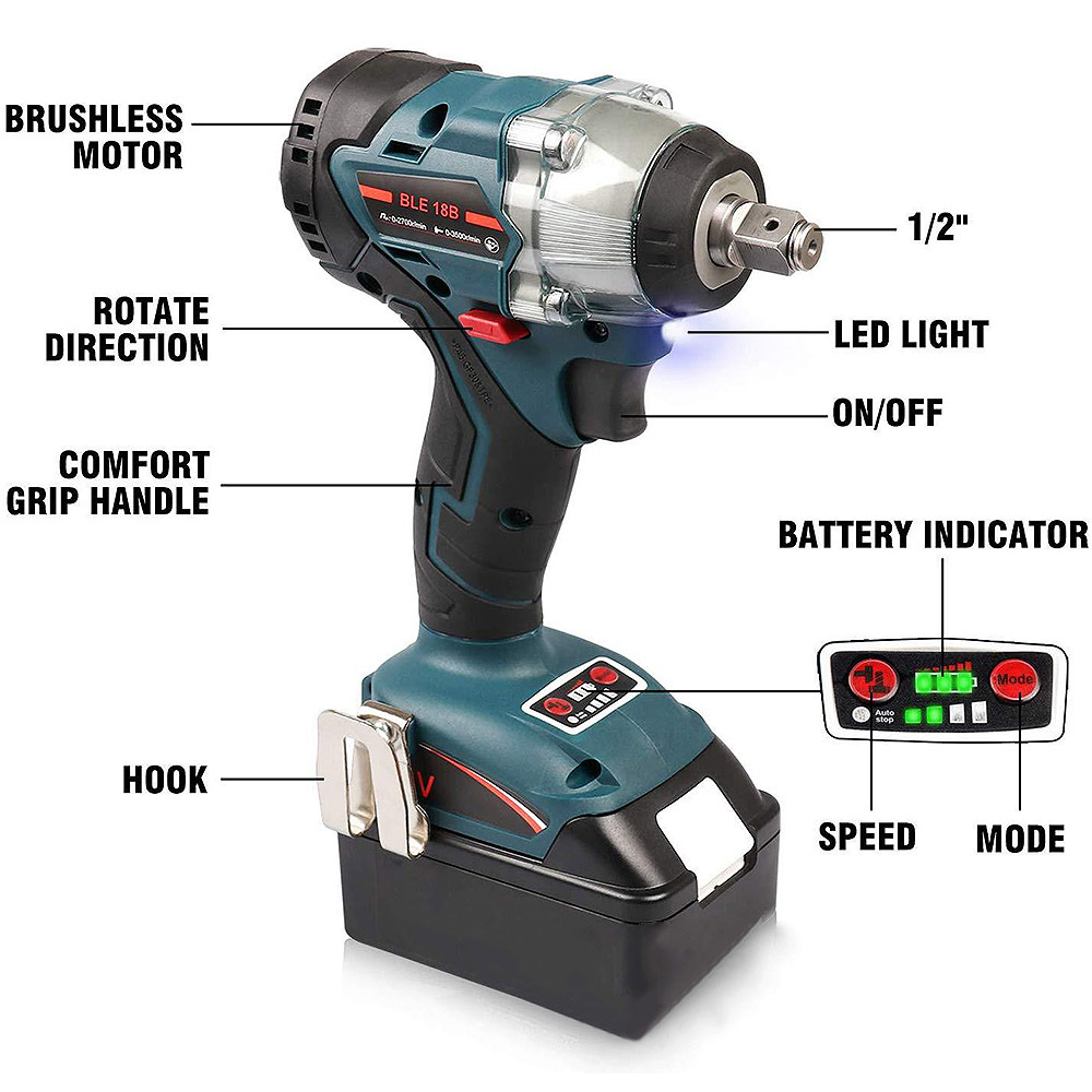 Image 2 - 18V Replacement Brushless 1/2 Inch Impact Wrench for Makita DTD152 DTD170 New 18V Impact Driver-in Electric Drills from Tools on