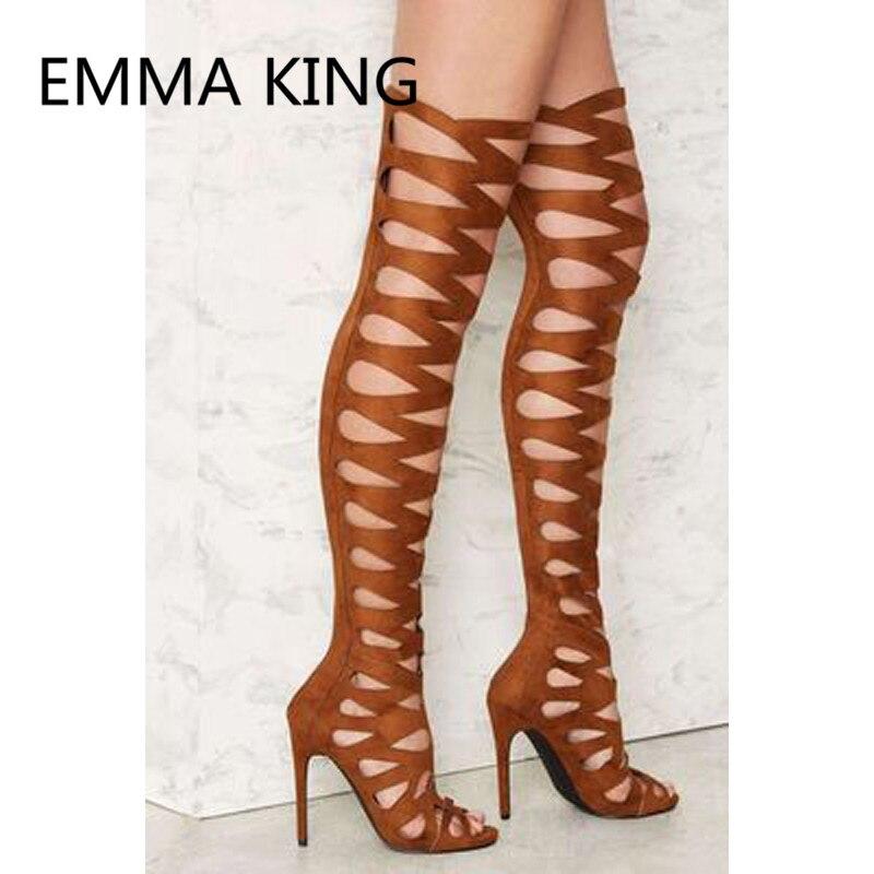 2019 новый сексуальный Для женщин над коленом Римские сандалии с открытым носком; открытые, на высоком каблуке Дамская мода Модная обувь женские сандалии сапоги - 2