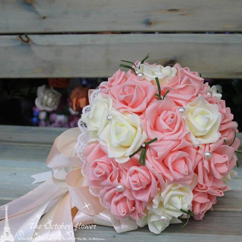 Image 5 - Cheap Korean bride holding flowers bridesmaids holding flowers simulation Rose bridal bouquet ramos de noviaramos de noviahold flowerrose bridal bouquet -