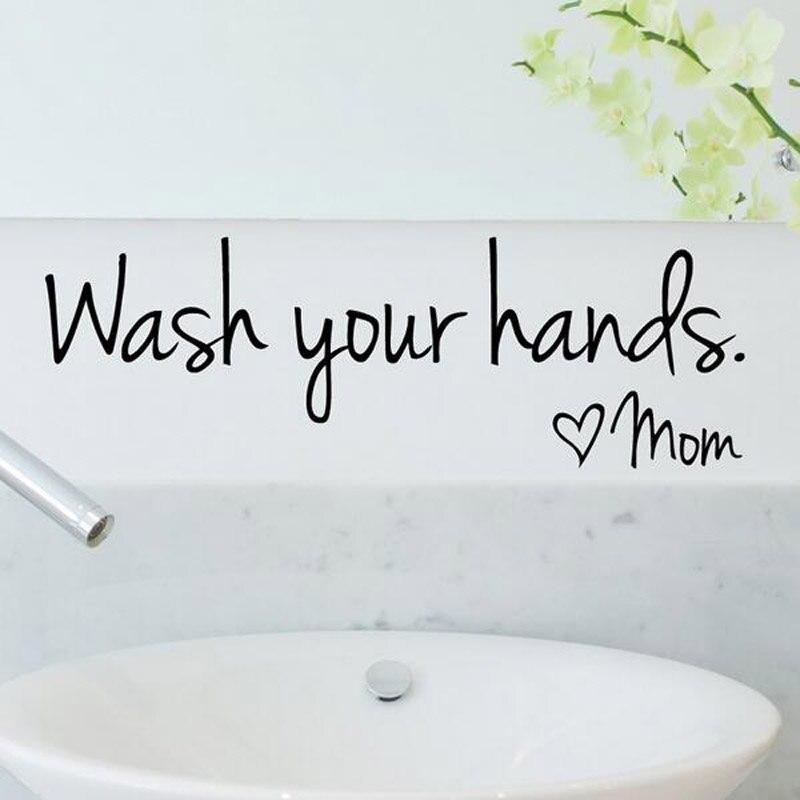 bathroom Wall Stickers Spanish French German Dutch -Wash Your Hands Love Mom -Waterproof Art Vinyl Decal Wall Glass Decor Z01