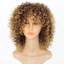"""Lyx för flätande värmebeständig fiber 14 """"Ombre Blond Färg Afro Kinky Curly Högtemperatur Syntetisk Paryk"""