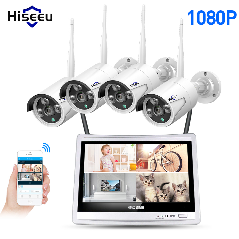 Hiseeu 4CH 1080P Wireless NVR Kits 12' LCD display HD outdoor security 2MP IP Camera video surveillance wifi cctv camera system