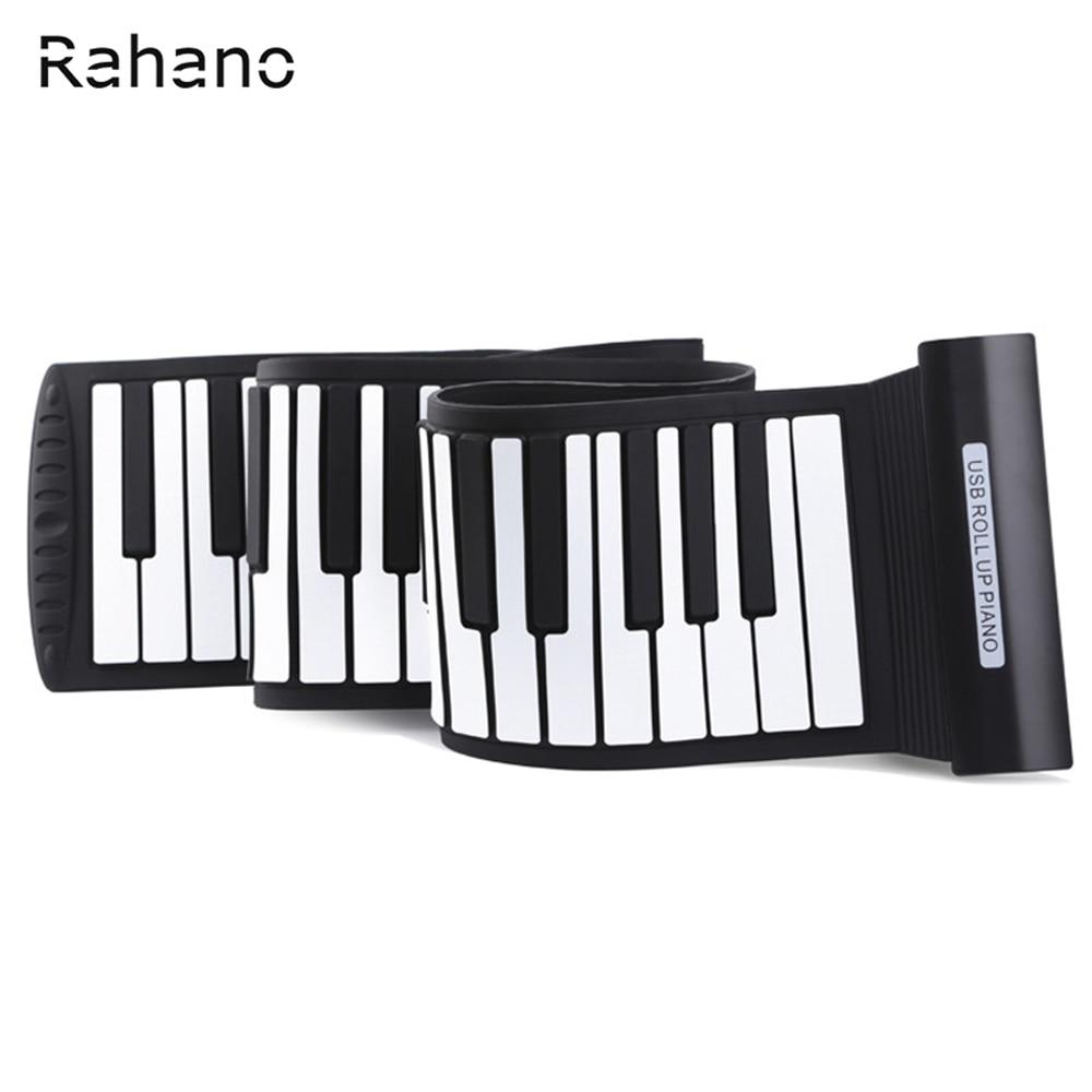 Rahano Arrival Silicone Flexible Keyboard MIDI Roll up Electronic Piano USB 88 Keys Musical Instruments zebra musical instruments keyboard instruments piano sw 37k 37 keys melodica mouth organ with handbag