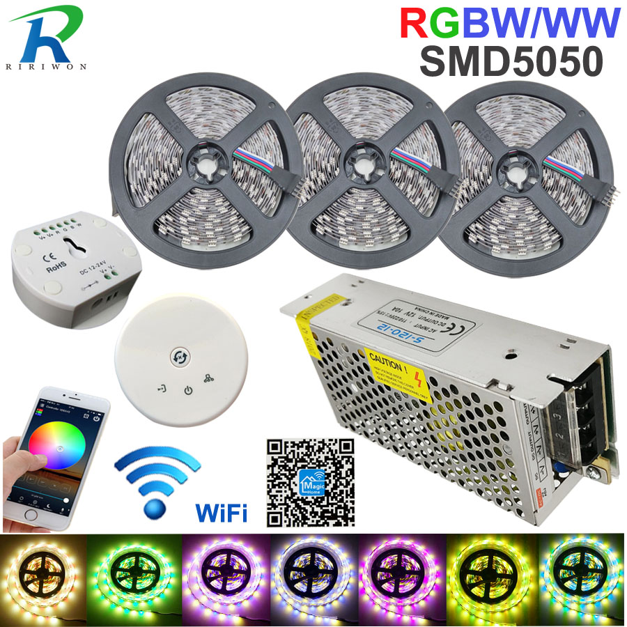 RGBW LED Strip light 15M LED lighting RGB Warm IP20 / IP65 waterproof SMD 5050 LED Tape Ribbon+DC 12V Power + UFO WiFi Control sencart 50w 60 x smd 5050 red light led module waterproof ip65 dc 12v