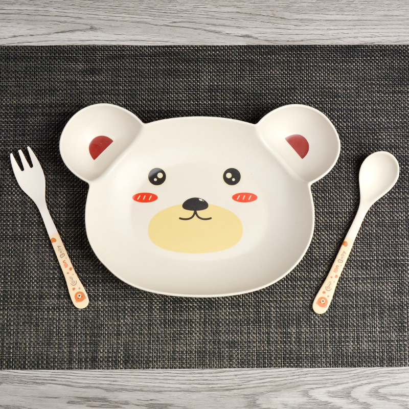 Купить с кэшбэком Baby bowl+spoon + fork Feeding Food Tableware Cartoon Panda Kids Dishes Baby Eating Dinnerware Set Anti-hot Training Bowl Spoon