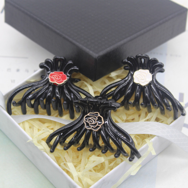 New South Korean Rose Flower Crab Claw Clip Medium Tray Ponytail Hair Scratch Head Jewelry Womens Clips Birthday Gifts