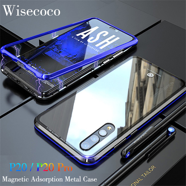 c065e5aa419 For huawei p20 pro Magnetic Adsorption Metal Phone Case Luxury Ultra Magnet  Tempered Glass 360 Full Cover For hawei P 20 p20 pro