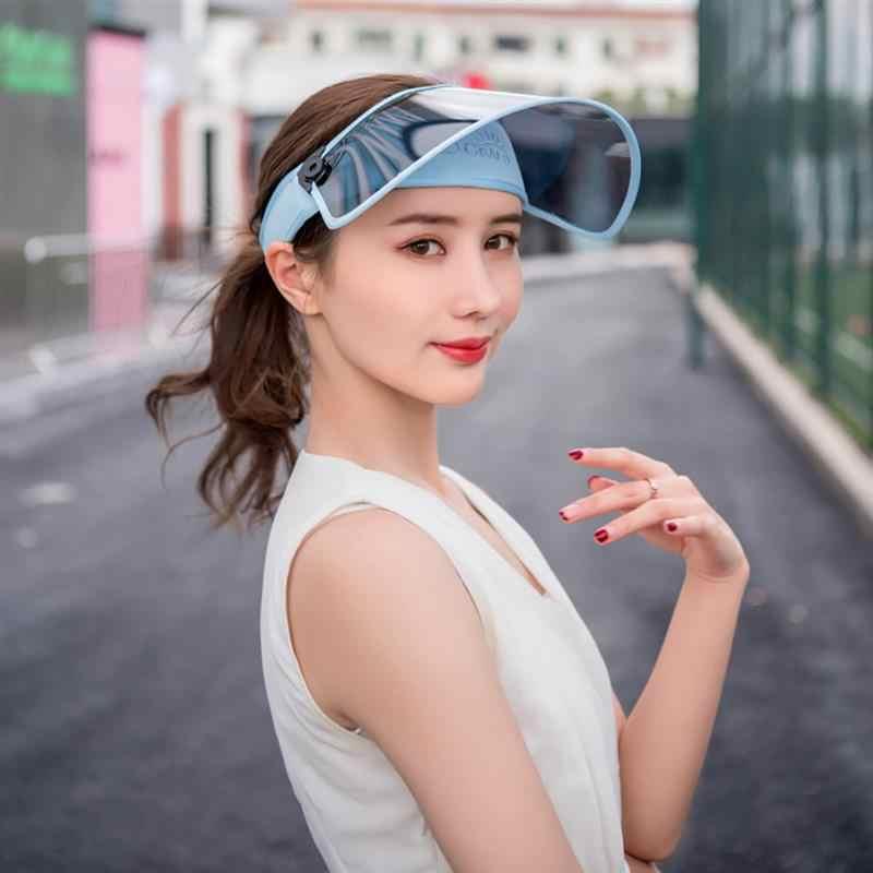 7f77e5eb5be ... New Windproof PVC Hats Sunshade Caps Topless Empty Sun Visor Caps UV  Protection Hat Riding UV ...