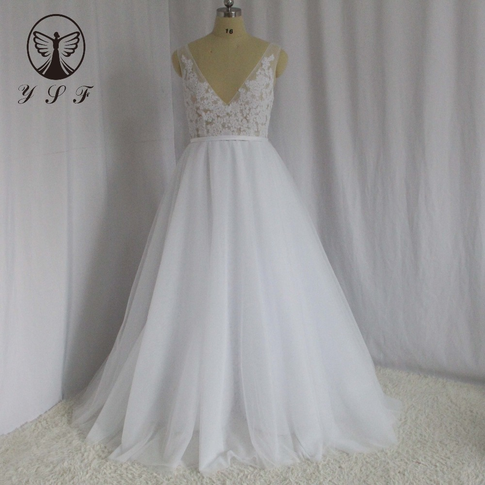 Simple But Elegant Wedding Dress: Simple But Elegant Wedding Dresses V Neck Appliqued Lace
