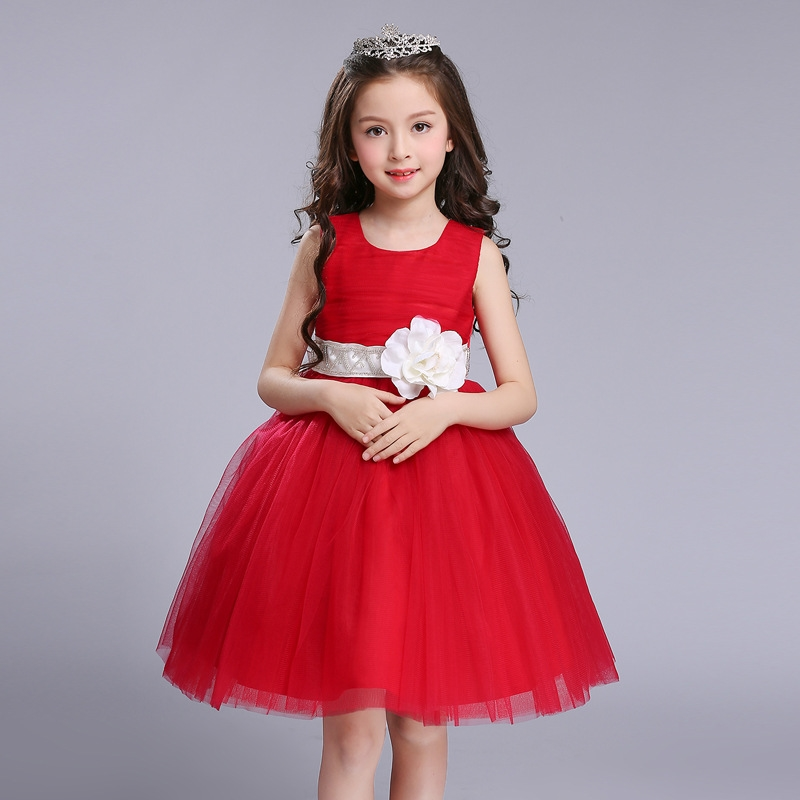 New Summer Wedding Flower Baby Girl Dress Tutu Princess Party Dress Costume Girl Fashion Clothes Princess Flower Big Girl Dress цены онлайн