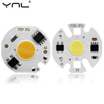 YNL LED COB lampa układowa 3W 5W 7W 9W 220V LED żarówka wejście inteligentny IC nie ma potrzeby kierowcy wysokiej mocy dla DIY LED światło halogenowe Spotlight