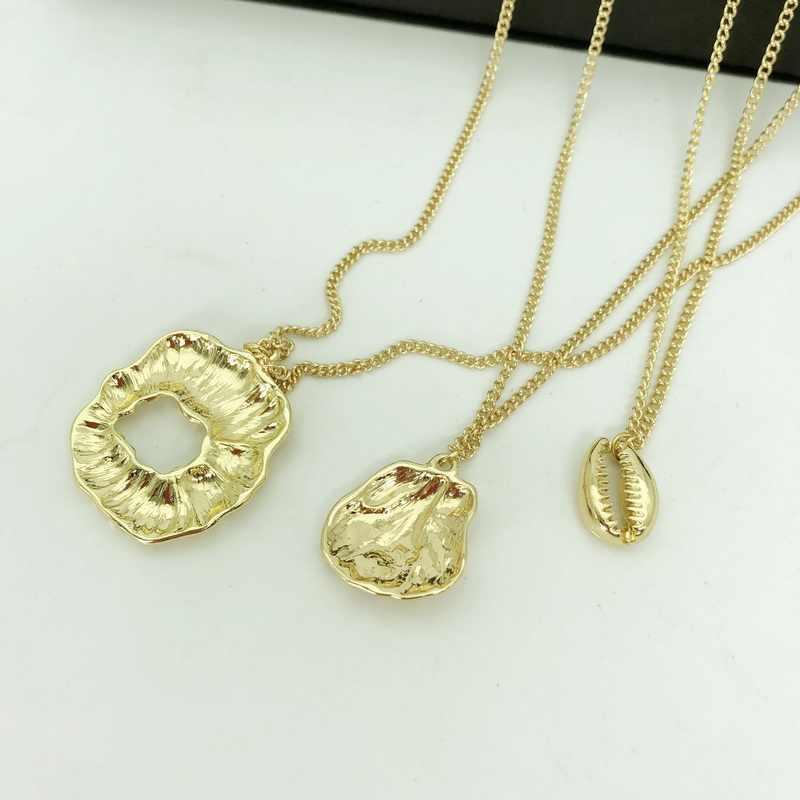 F. J4Z Морская раковина ювелирные изделия Boho Гавайские пляжные украшения кулон ожерелье 3 Слоистые золотые цепи для женщин воротник Bijoux