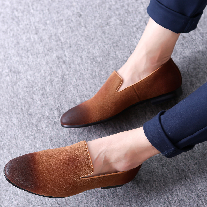 9f724824acf110 ERRFC Fashion Design Slip On Loafer Shoes Men Black Round Toe Brush Color  Grey Leisure Shoes Man Suede Leather Shoes Adult 38-48