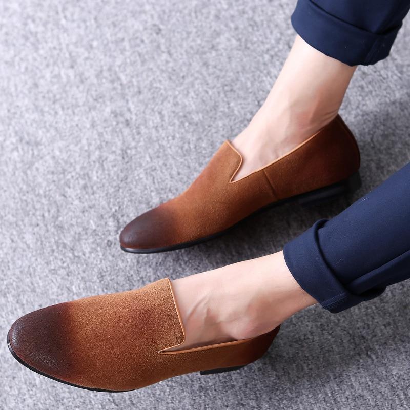 ERRFC Fashion Design Slip On Loafer Shoes Men Black Round Toe Brush Color  Grey Leisure Shoes Man Suede Leather Shoes Adult 38-48 141fd3cebc16