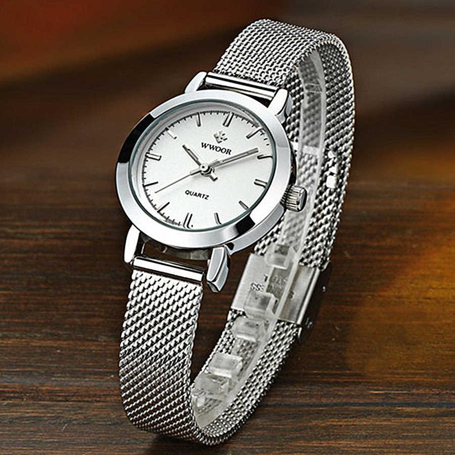 WWOOR kadınlar elbise saatler lüks marka bayanlar quartz saat paslanmaz çelik tel örgü bant rahat altın bilezik saatler reloj mujer